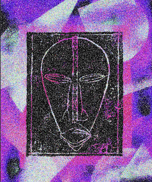 Digital artwork of the DAN mask, Purple psychedelic colors