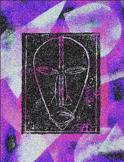 Digital artwork of the DAN mask, Purple psychedelic colors