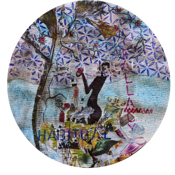 Recycled Collage artwork on coffee filter paper, 40cm diameter.